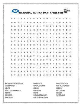 NATIONAL TARTAN DAY- APRIL 6TH- Word Search