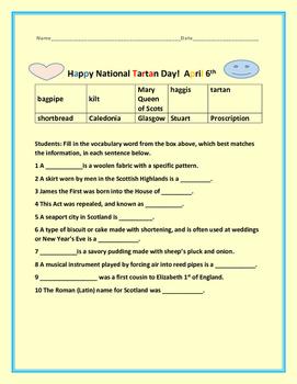 NATIONAL TARTAN DAY- CELEBRATE/APRIL 6TH
