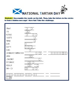 NATIONAL TARTAN DAY:  WORD JUMBLE PUZZLE/ APRIL 6TH
