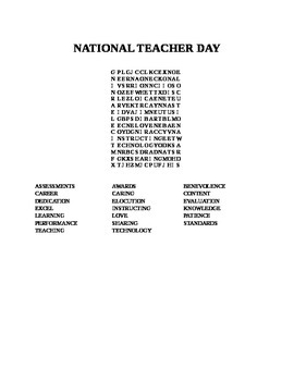 NATIONAL TEACHER DAY WORD SEARCH