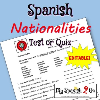 NATIONALITIES:  Spanish Quiz or Test