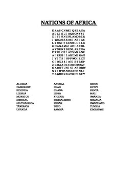 NATIONS OF AFRICA WORD SEARCH