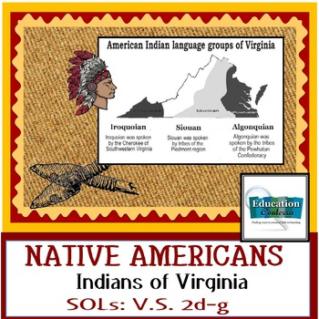NATIVE AMERICAN INDIANS OF VIRGINIA -  SOLs for Virginia Studies: V.S 2d-g