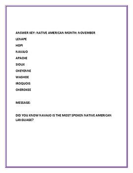 NATIVE AMERICAN MONTH: NOVEMBER: WORD JUMBLE CHALLENGE