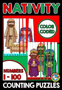 CHRISTMAS MATH CENTER KINDERGARTEN (NATIVITY COUNTING PUZZLES) NUMBERS 1 TO 100