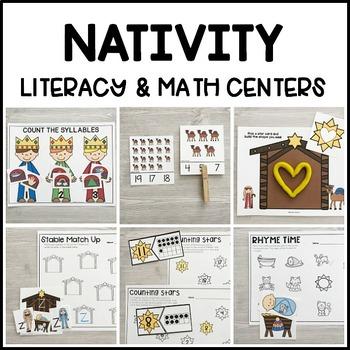 NATIVITY Literacy & Math Centers for Christmas (Preschool, PreK, Kindergarten)