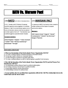 NATO vs. Warsaw Pact Reading with questions