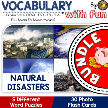 Natural Disasters for ESL 4 vocabulary puzzles