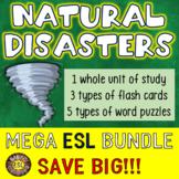 Natural Disasters Unit, Flash Cards and Word Puzzles MEGA ESL BUNDLE