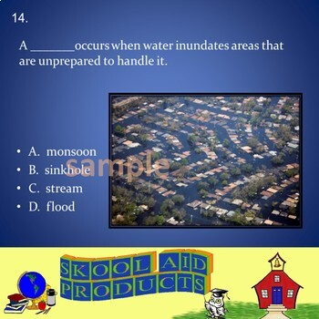 NATURAL DISASTERS: Water Vocabulary and Quiz Bundle