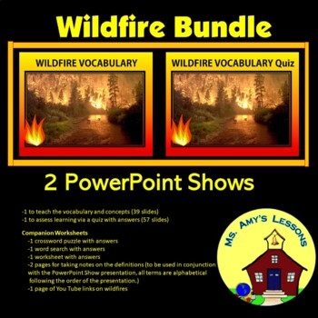 NATURAL DISASTERS: Wildfire Vocabulary & Quiz Bundled products