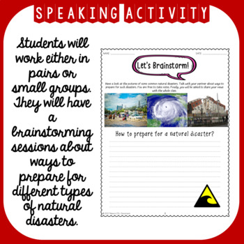Natural Disasters ESL Unit Reading Passages, Speaking and Writing Activities