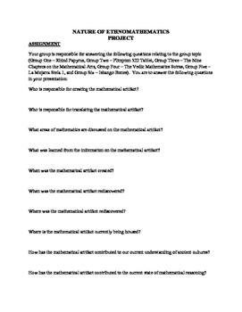 NATURE OF MATHEMATICS - ETHNOMATHEMATICS RESEARCH PROJECT - 5 PAGES
