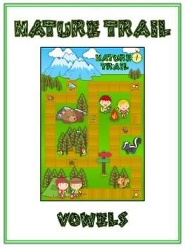NATURE TRAIL Vowels- ELA First Grade Folder Game - Word Work Center