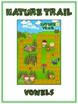 NATURE TRAIL Vowels- ELA First Grade Folder Game - Word Work Center
