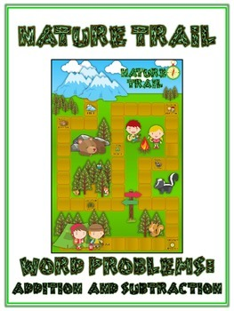 NATURE'S TRAIL - Word Problems Adding & Subtracting - Math Folder Game