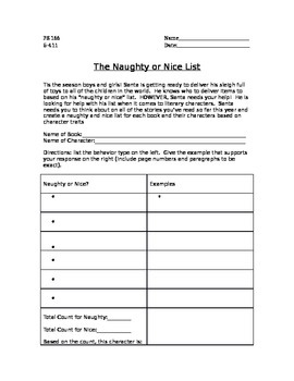NAUGHTY OR NICE LIST FOR LITERARY CHARACTERS by Mrs Kikis