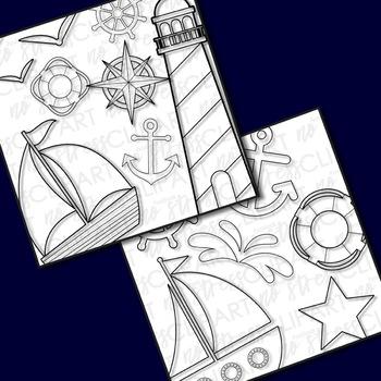 NAUTICAL Clipart Plus Digital Papers BUNDLE