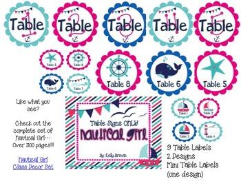 {NAUTICAL GIRL} Table Labels Only