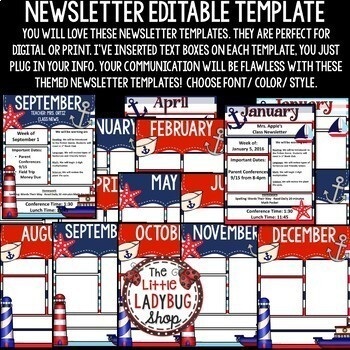 Nautical Theme- Editable Newsletter Templates