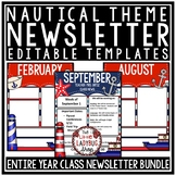 Nautical Classroom Theme Monthly & Weekly Newsletter Template Editable