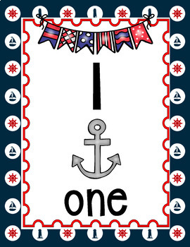 NAUTICAL OR SAILING CLASSROOM DECOR THEME NUMBER POSTERS