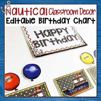 NAUTICAL CLASSROOM DECOR BIRTHDAY CHART BULLETIN BOARD DISPLAY