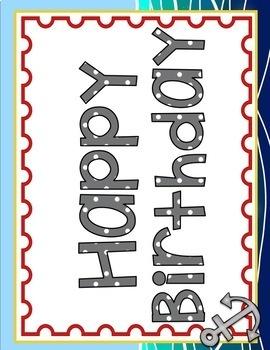 NAUTICAL OR SAILING THEMED BIRTHDAY CHART BULLETIN BOARD DISPLAY