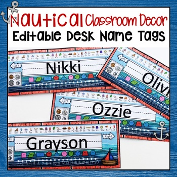 NAUTICAL OR SAILING THEMED STUDENT DESK NAME TAGS