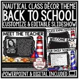 Nautical Classroom Theme Back To School Night Meet The Teacher Template Editable