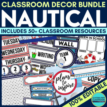 Nautical Theme Classroom Decor Editable By Clutter Free Classroom