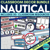 NAUTICAL CLASSROOM THEME DECOR BUNDLE editable nautical themed classroom decor