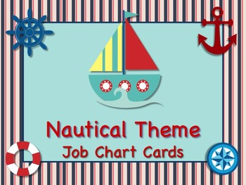 NAUTICAL Theme Job Chart Cards/Signs - Great for Classroom