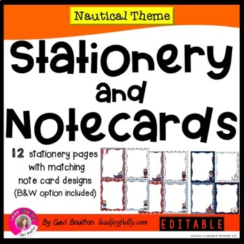 NAUTICAL Themed EDITABLE Stationery with Matching Note Cards