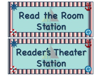 NAUTICAL Themed Station/Center Signs - AHOY! Great Classroom Management!