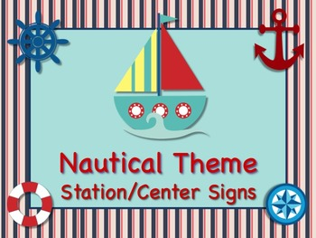 NAUTICAL Themed Station/Center Signs - AHOY! Great Classro