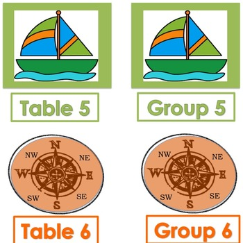 NAUTICAL Themed Table/Group Numbers