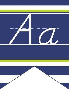 NAUTICAL lime - Alphabet Flag Banner, handwriting, A to Z,