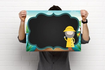 NAUTICAL lime - Class Decor:editable chalkboard  POSTERS / Bistro Chalk Markers