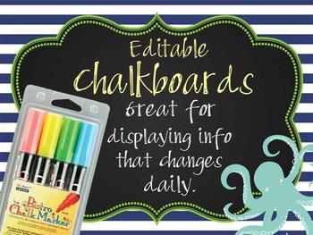 NAUTICAL lime - Class Decor:editable chalkboard  POSTERS /