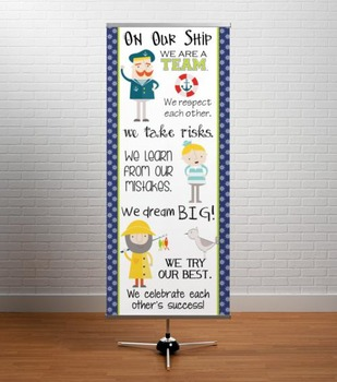NAUTICAL lime - Classroom Decor: LARGE BANNER, On Our Ship
