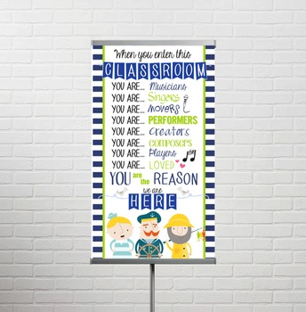 NAUTICAL lime - Classroom Decor: SMALL BANNER, When You Enter ... music theme