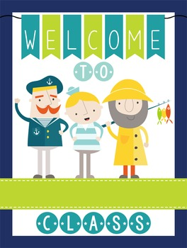 NAUTICAL lime - Classroom Decor: WELCOME Poster - 18 x 24, you personalize