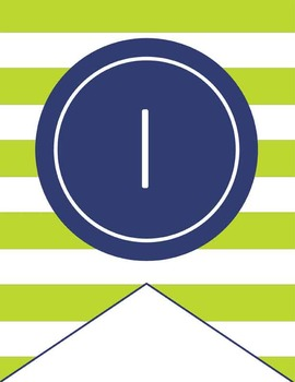 NAUTICAL lime - Number Line Banner, 1 to 25, EDITABLE to continue