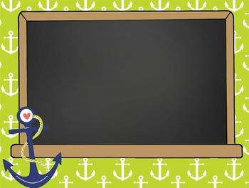 NAUTICAL lime - PowerPoint, Open House, Curriculum Night, Meet the Teacher