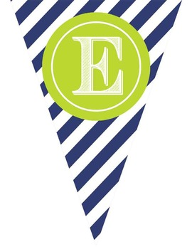 NAUTICAL theme lime - Classroom Decor - Triangle Banners, CREATE a BANNER