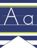 NAUTICAL lime - Alphabet Flag Banner, handwriting, A to Z, ABC print font