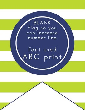 NAUTICAL lime green - Number Line Banner, 1 to 25, EDITABLE to continue