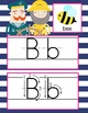 NAUTICAL pink - Alphabet Cards, Handwriting, Cards, ABC print with pictures