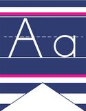 NAUTICAL pink - Alphabet Flag Banner, handwriting, A to Z, ABC print font